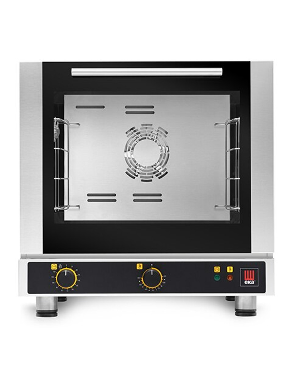 """Eka 4-tray, half-size (13x18) convection oven with electro-mechanical control.  Stainless steel construction.  Operates on 208v (120v is available at EKFA412-S1).  Four 13"""" x 18"""" grids included."""