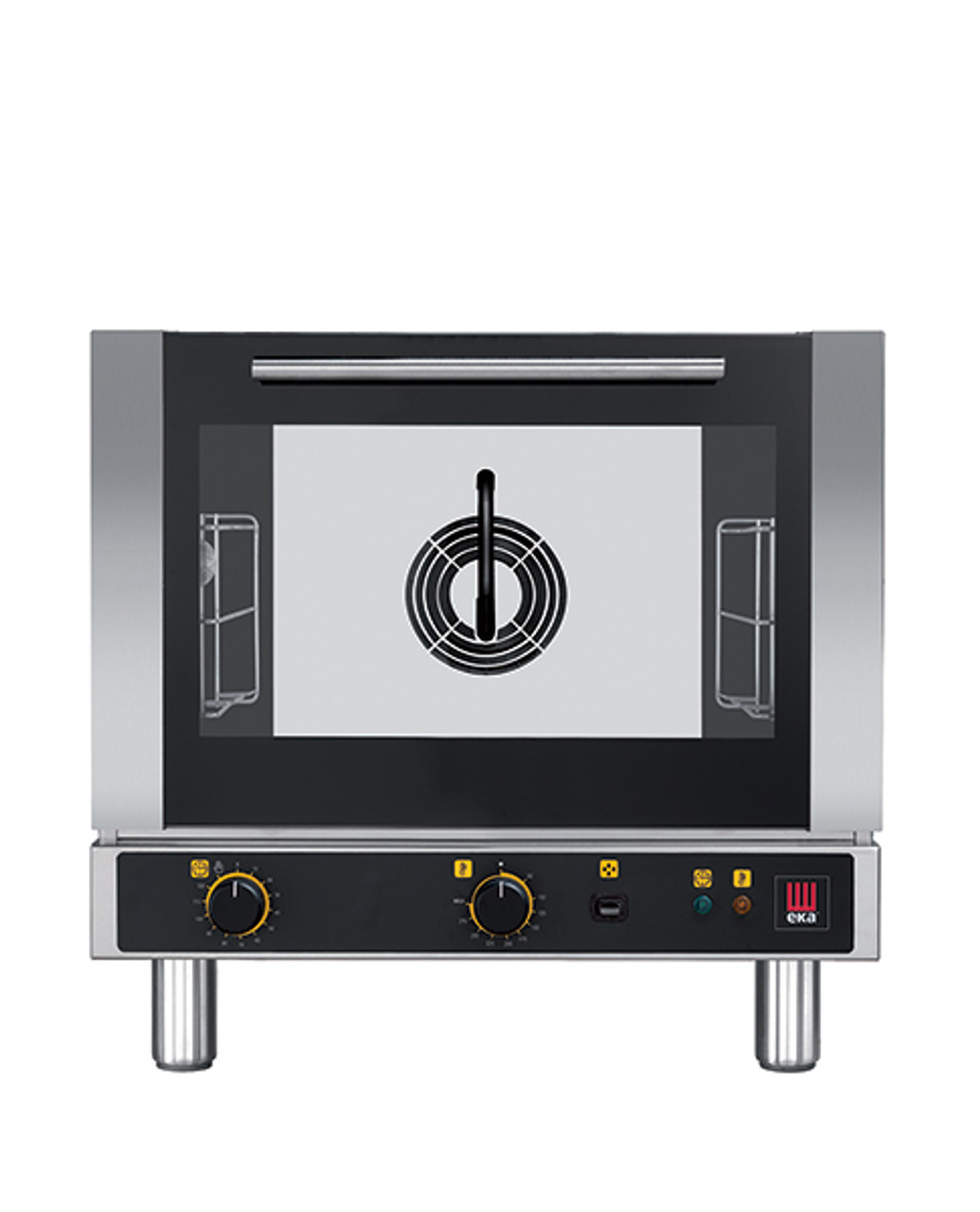 """Eka 3-tray, half-size (13x18) convection oven with steam injection and electro-mechanical controls.  Stainless steel construction.  Top-opening (bottom-hinged) door.  Auto-reversing, bi-directional fan.  Three 13"""" x 18"""" grids included."""