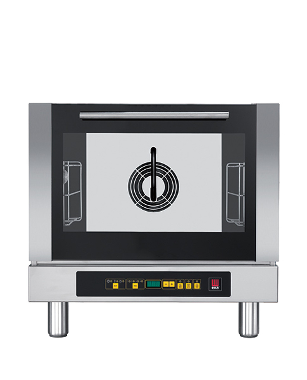 """Eka 3-tray, half-size (13x18) convection oven with steam injection and digital controls.  Stainless steel construction.  Top-opening (bottom-hinged) door.  Auto-reversing, bi-directional fan.  Three 13"""" x 18"""" grids included."""