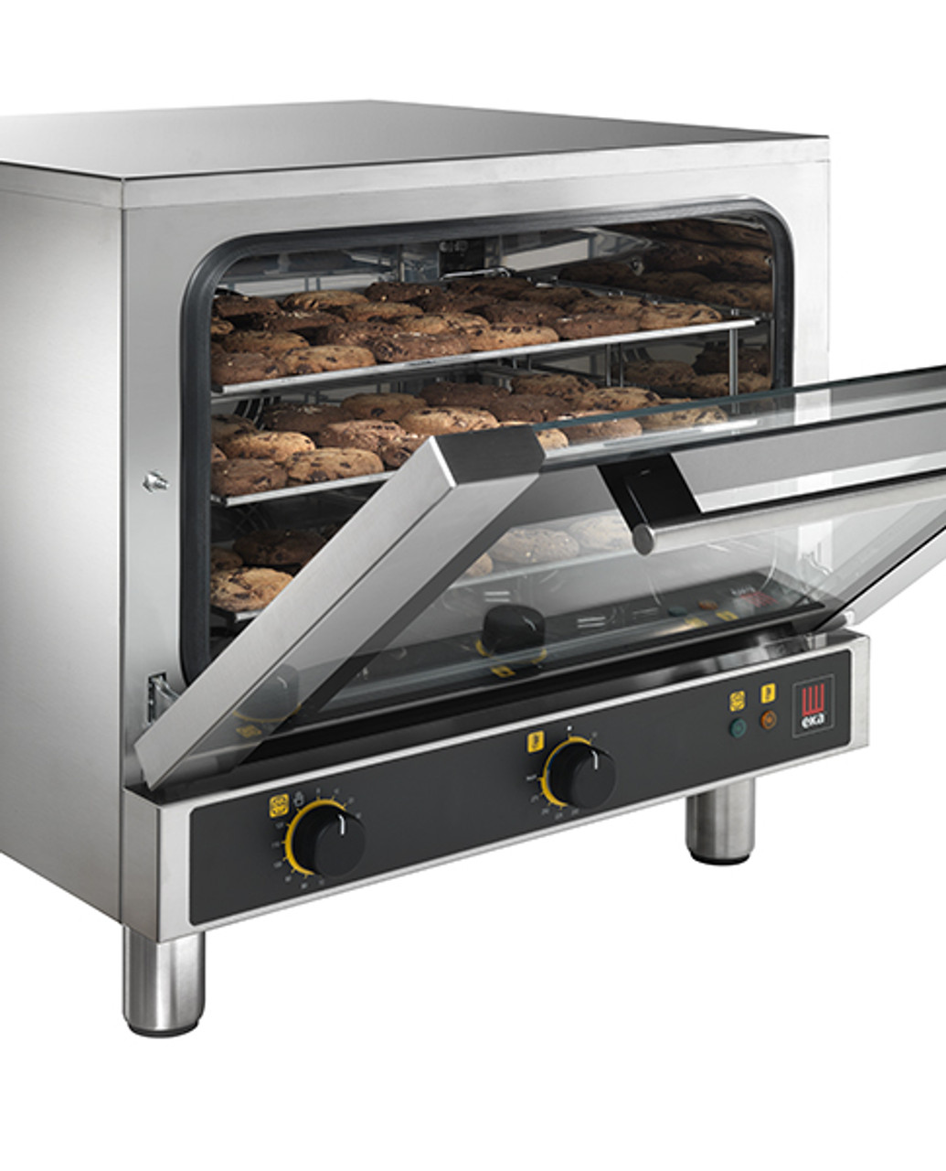 """Eka 3-tray, half-size (13x18) convection oven with electro-mechanical control.  Stainless steel construction.  Top-opening (bottom-hinged) door.  Auto-reversing, bi-directional fan.  Operates on 120v.  Three 13"""" x 18"""" grids included."""