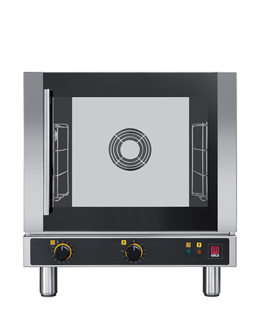 """Eka 4-tray, half-size (13x18) convection oven with electro-mechanical control.  Stainless steel construction.  Left-opening (right-hinged).  Auto-reversing, bi-directional fan.  Operates on 120v.  Four 13"""" x 18"""" grids included."""