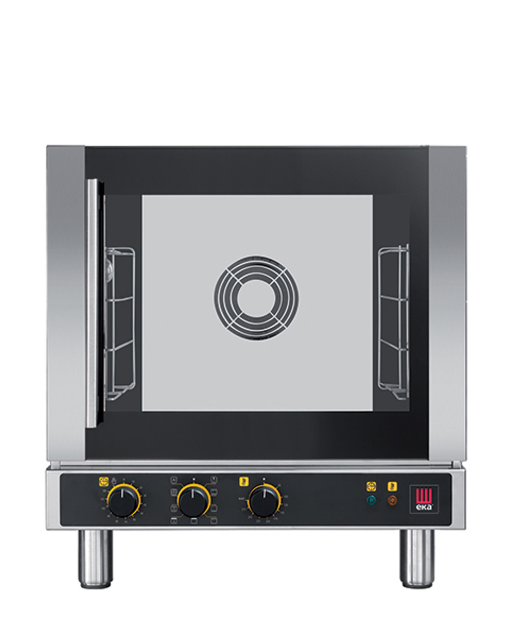 """Eka 4-tray, half-size (13x18) convection oven with broiler element.  Seven cooking modes with electro-mechanical control.  Stainless steel construction.  Left-opening (right-hinged) door.  Auto-reversing, bi-directional fan.  Four 13"""" x 18"""" grids included."""