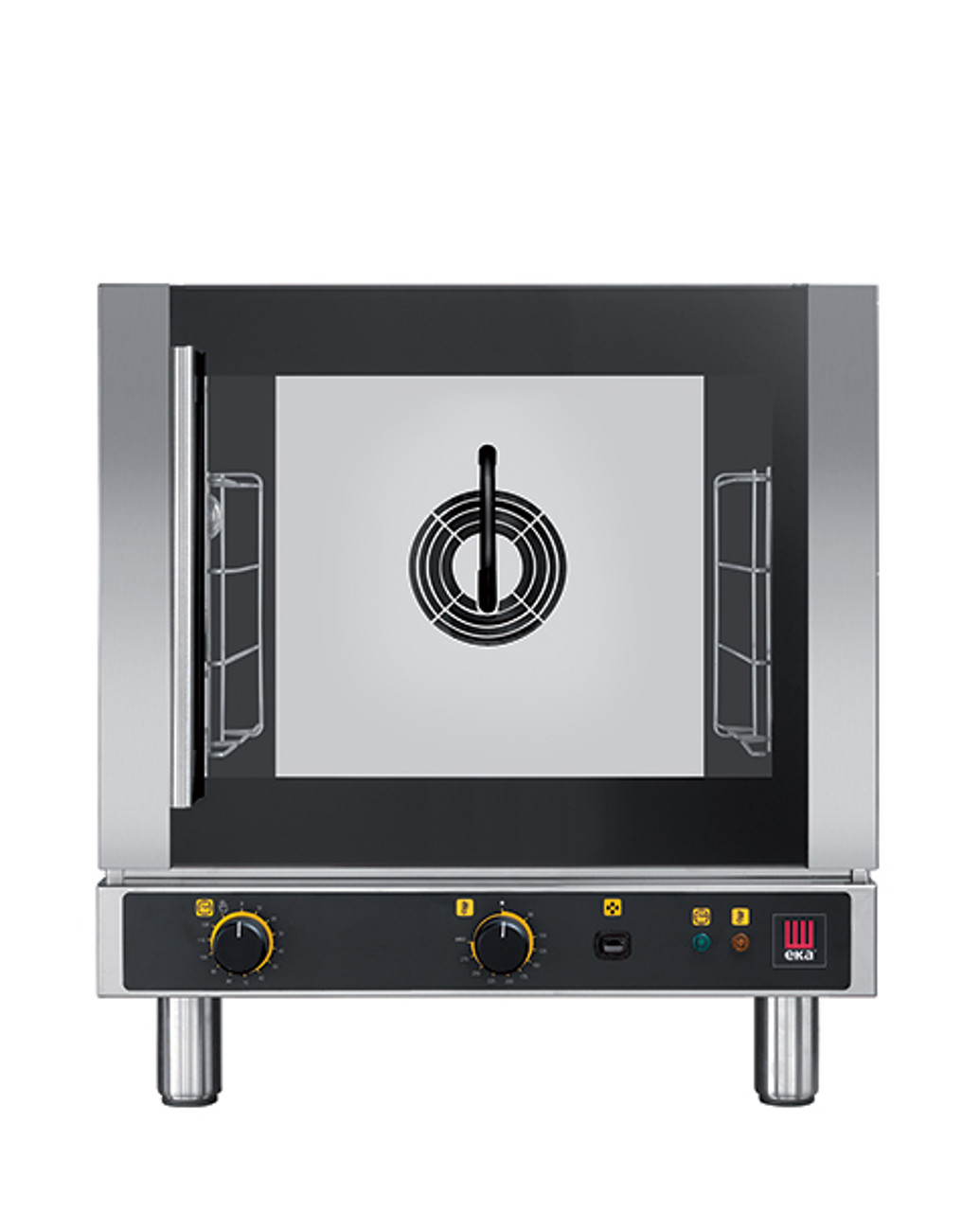 """Eka 4-tray, half-size (13x18) convection oven with steam injection and electro-mechanical controls.  Stainless steel construction.  Left-opening (right-hinged) door.  Auto-reversing, bi-directional fan.  Four 13"""" x 18"""" grids included."""
