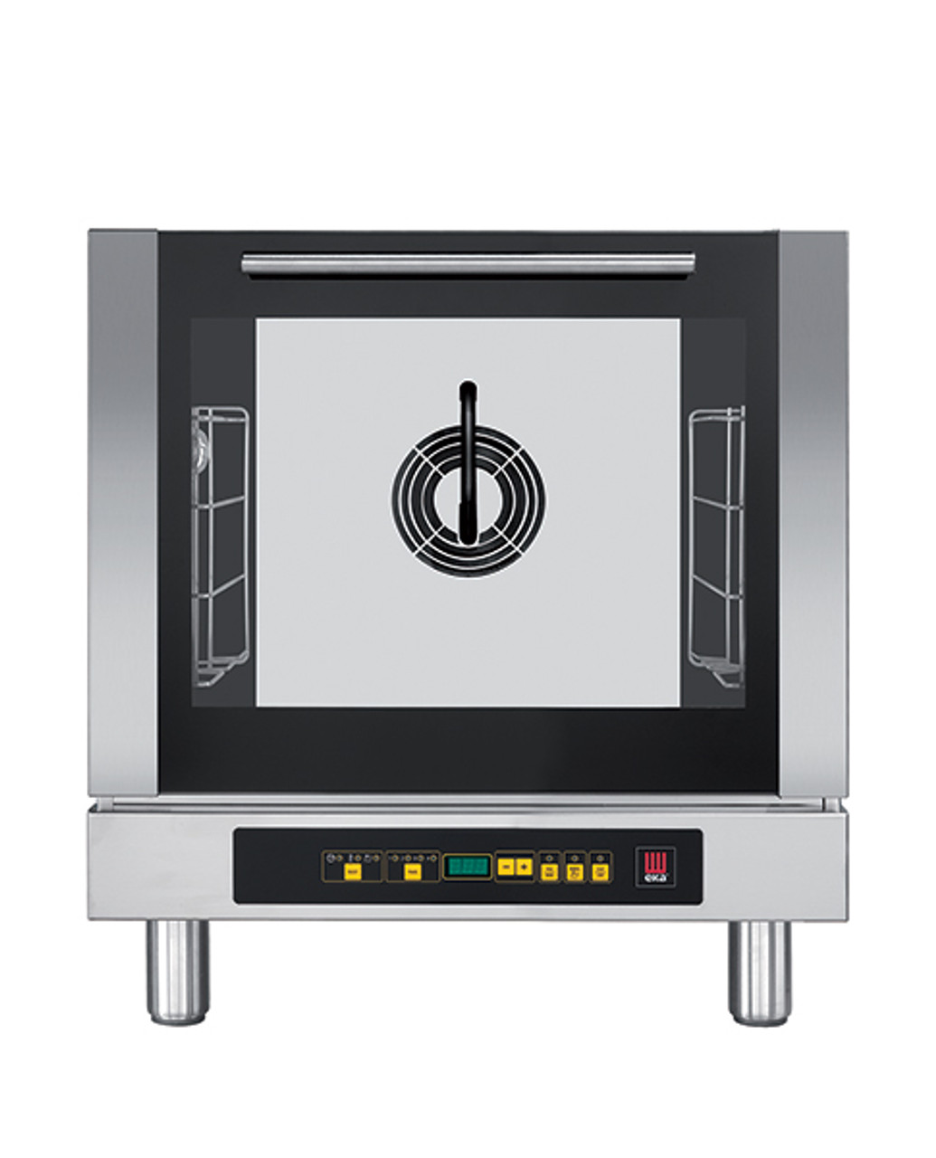 """Eka 4-tray, half-size (13x18) convection oven with steam injection and digital controls.  Stainless steel construction.  Auto-reversing, bi-directional fan.  Four 13"""" x 18"""" grids included."""