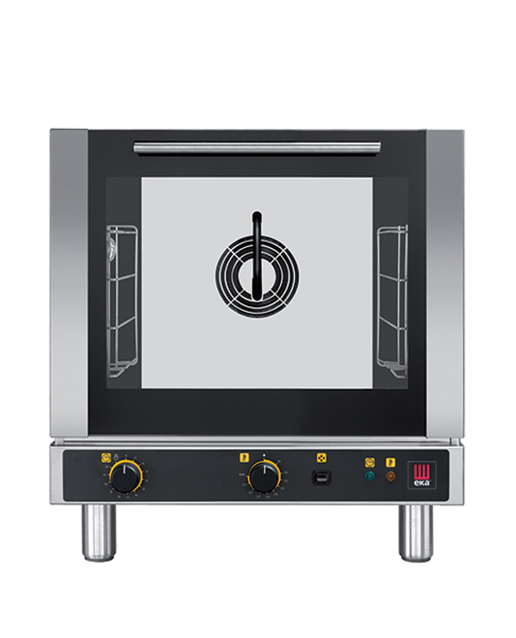 """Eka 4-tray, half-size (13x18) convection oven with steam injection and electro-mechanical controls.  Stainless steel construction.  Auto-reversing, bi-directional fan.  Four 13"""" x 18"""" grids included."""