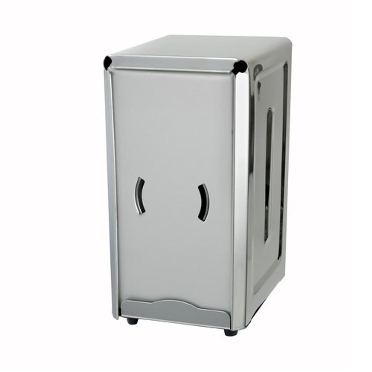 """Napkin Dispenser, holds napkins 3-1/2"""" x 7""""H, full size, 18/0 stainless steel, rubber feet"""