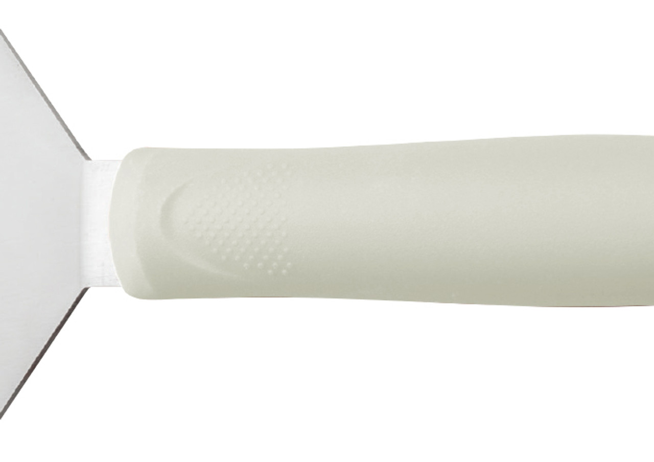 "Turner, 8"" x 4"", stainless steel blade, dishwasher safe, slip-resistant, polypropylene white handle, satin finish, NSF"
