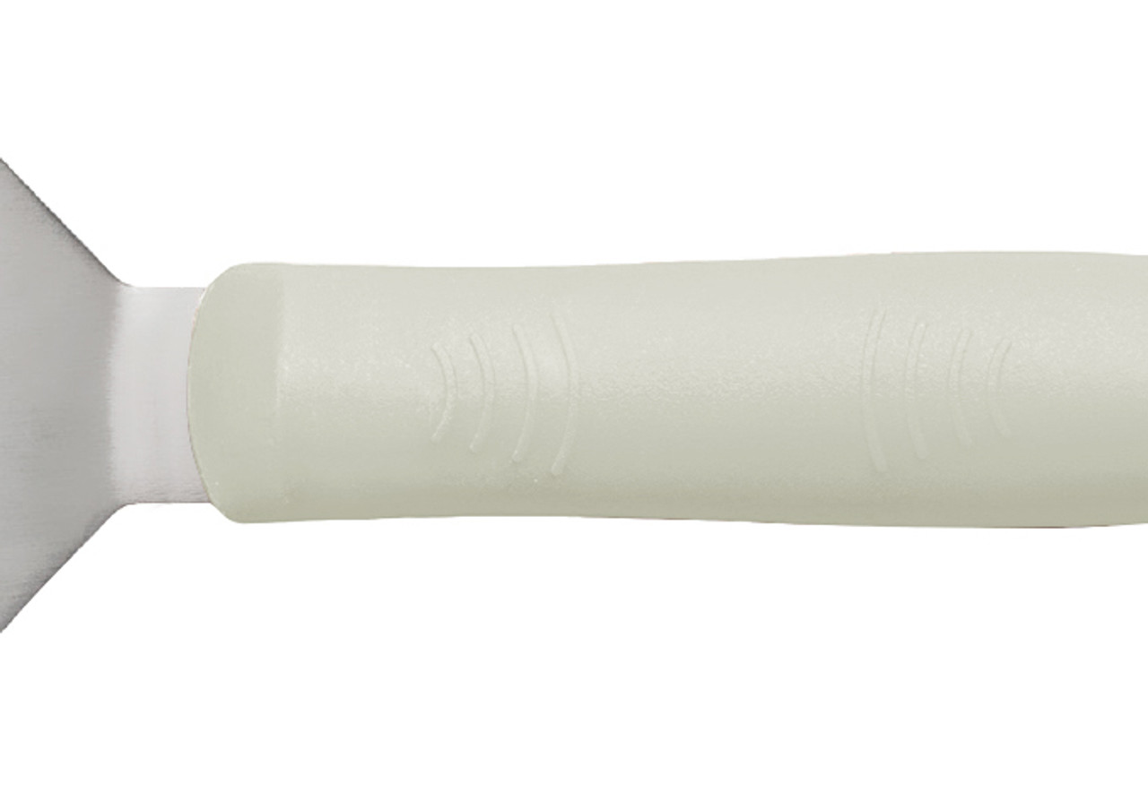 "Turner, 8-1/4"" x 2-7/8"" stainless steel perforated blade (not including offset), flexible, dishwasher safe, slip-resistant, polypropylene white handle, satin finish, NSF"