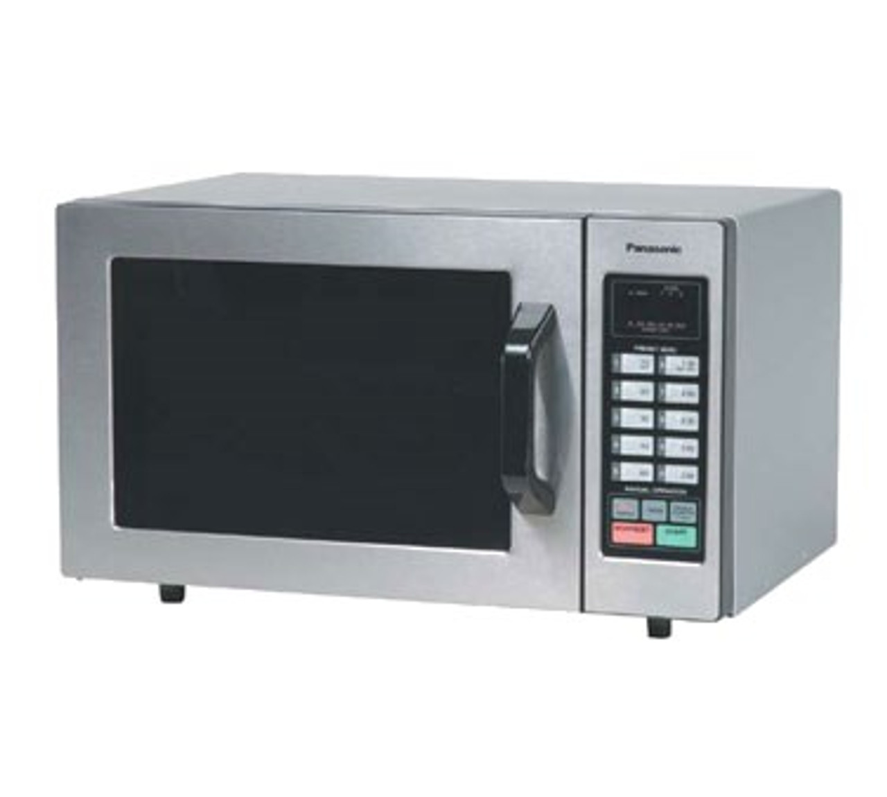 """PRO Commercial Microwave Oven, 1000 watts, 0.8 cu. ft. capacity, (6) power levels, 2- & 3-stage cooking, 20 program memory capacity, touch control pad with Braille, 99-minute timer, programmable and manual operation, program list/cycle counter, self diagnostics, tone control, bottom energy feed, interior light, see-through door with """"grab & go"""" handle, stainless steel front, 120v/60/1-ph, 13.4 amps, cord, NEMA 5-15P, cULus, NSF"""