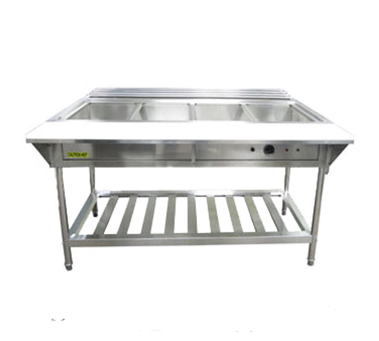 """Water Bath Steam Table, 57-1/4""""W x 26""""D x 34-1/4""""H, 4-compartment, 12"""" x 20"""" x  8-1/2"""" deep wells, thermostatic control dial, low water cutoff sensor with reset button, 304 stainless steel fully welded water pan, single heating element, 3/4"""" drainage pipe, adjustable legs with bullet ends, undershelf, stainless steel,   208v/240v/60/1-ph, 3000 watt, 12.5 amp, NEMA 6-20P, CE (ships Knocked-Down)"""