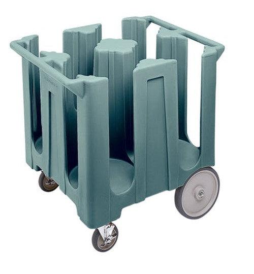 """Dish Caddies Cart, 32-5/8""""W x 23-1/2""""L x 31-3/4""""H, poker chip design, non-adjustable, maximum dish size 5-3/4"""", (6) columns, polyethylene construction, molded handles, (2) 5"""" swivel casters with brakes and (2) 10"""" easy wheels, includes vinyl dust cover, slate blue, NSF"""