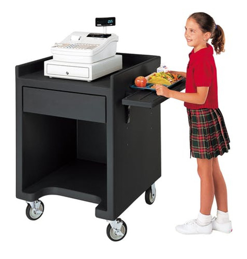 "Equipment Stand Only, 28""W x 28""D x 39""H, polyethylene, (4) 5"" casters (2 fixed and 2 swivel with brakes), black, NSF"