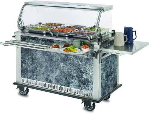 "MealtimeXpress™ Delivery Cart, 52-2/5""W x 28-3/4""D x 54-1/2""H (37-13/16""H work height), stainless steel top with (2) flat hot top surfaces, (2) convection heated compartment each accommodate (8) full size pans, convection heat, breath guard with shelf & LED lights, push handle, stainless steel construction, full perimeter bumper, (4) 6"" swivel casters (2 braked), 120v/60/1-ph, 19 amps, NEMA 5-20P, ETL-Sanitation, cETLus"