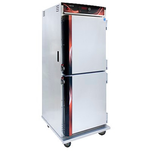 """Cabinet, Mobile Heated, insulated, top-mount heater assembly, recessed push/pull handles, (12) sets of chrome plated wire universal angle slides aon 4-1/2"""" centers adjustable 1-1/2"""" centers, solid state electronic control, LED digital display, field reversible dutch doors, (4) heavy duty 5"""" swivel casters (2) braked, anti-microbial latches, aluminum exterior & interior, NSF, cCSAus"""