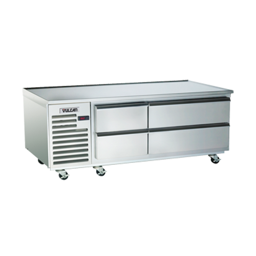 "Achiever Refrigerated Base, 72"", self-contained, two-section, (4) drawers, marine top, stainless base, top, front, sides, interior, galvanized back, 3"" heavy duty casters, magnetic drawer gasket, 1/3 hp, 115v/60/1, 6.7 amps"