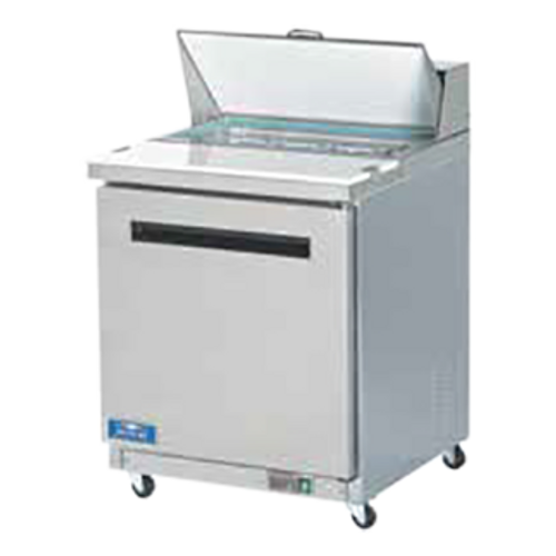 """Sandwich/Salad Prep Table, one-section, 29""""W, 6.5 cu. ft., self-contained rear mounted capillary tube refrigeration, electronic thermostat with digital LED temperature display, 33°F to 41°F temperature range, stainless steel top with 11-3/8""""D cutting board, (8) 1/6 size clear lexan pans included, (1) vaulted solid hinged self-closing door with 90° stay open feature, (1) shelf, stainless steel front & sides, white ABS interior with stainless steel floor, (4) 3"""" casters (2 locking), R290 Hydrocarbon refrigerant, 1/3 HP, 3.0 amps, cord, NEMA 5-15P, cETLus, ETL-Sanitation"""
