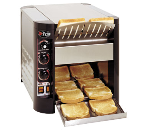 """X*Treme™ Conveyor Toaster, electric, countertop, (600) slices/hour capacity, 3""""H opening, 10""""W belt, top & bottom heat controls, pre-heat convection system, variable speed, air cooled, stainless steel front, top, & sides, painted aluminum front corners, 1"""" adjustable legs, cULus, CE"""