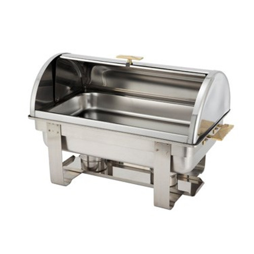 Dallas Chafer, 8 qt., full size, rectangular, roll top, stainless steel with gold accents, includes food pan, water pan, and fuel holders, mirror finish (Qty Break = 1 each)