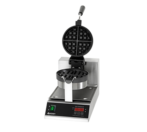 """Belgian Waffle Maker, 7"""" round grids, 1-1/4"""" thick waffles, cook 20 waffles per hour, stainless steel body, cast aluminum non-stick coated grids, temperature range 250° to 425° F, 180° rotating hinge, digital timer with buzzer, lighted on/off switch, includes: removable stainless steel drip pan, 120v, 1080 watts, 9 amps, 5"""" power cord with NEMA 5-15P,  CE"""