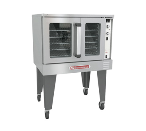 """Bronze Convection Oven, gas, single-deck, standard depth, (5) plated racks, 11-position rack glides, porcelain interior, (2) stainless steel dependent doors with windows, solid state controls, electronic ignition, 60-minute cook timer, 2-speed fan, oven interior light, stainless steel front, top, sides & door, porcelain interior, 26"""" painted steel triangular legs, 7.9 amps, 120v/60/1-ph, NEMA 5-15P, 1/2 HP, 54,000 BTU, CSA, NSF. SHOWN WITH OPTIONS"""