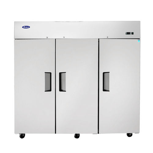"""Atosa Freezer, reach-in, three-section, 77-4/5""""W x 33-3/10""""D x 83""""H, top mount self-contained refrigeration, 64.9 cu ft., (3) locking hinged solid doors, digital temperature control, -8° to 0°F temperature range, (9) adjustable shelves, interior LED lighting, automatic evaporation, electric defrost, stainless steel interior & exterior, galvanized steel back, 4"""" casters, R290 Hydrocarbon refrigerant, 1-1/4 HP, 115/208-230v/60/1-ph, 5.5 amps, cord with NEMA L14-20P, cETLus, ETL-Sanitation"""