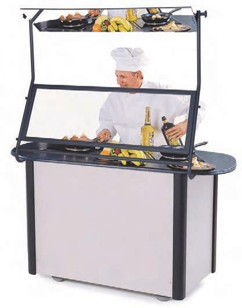MODEL 2080 Creation Express™ Station Mobile Cooking Cart. Shown with optional Demonstration Mirror & Sneeze Guard.