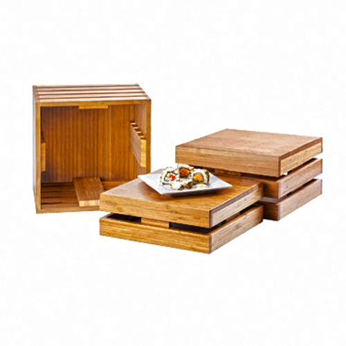 """Crate Riser, 6""""W x 6""""D x 6""""H, square, flip to utilize as a basket, bamboo"""