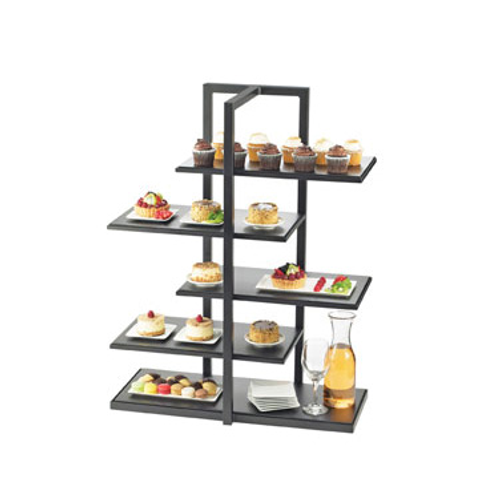 """One By One Multi-Level Display Shelf, 28-1/2""""W x 13-1/2""""D x 36-1/2""""H, 5-tier, staggered/offset design, (5) removable rectangular shelving, bamboo shelves, black frame stand"""