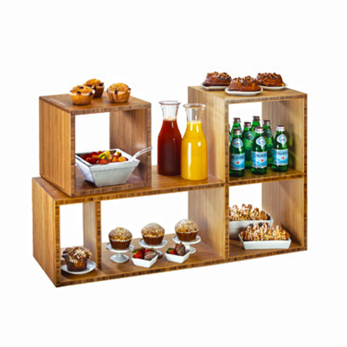 """Library Display, 38""""W x 12""""D x 24""""H, (1) small removable shelf, bamboo. Shown with additional display."""