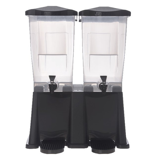 """Trimline™ Economy Beverage Server, 6 gallon (3 gallon per bowl), 21-1/2""""H x 15-3/4""""W x 16-3/8"""" deep, rectangular, double bowl/base, capacity side indicators, ergonomic handles, removable drip tray, hingless lid, no-drip faucet, textured lid and base, dishwasher safe, includes labels: fruit punch, iced tea, lemonade, sweetened & unsweetened tea, recyclable, translucent polypropylene, black, NSF, Made in USA, BPA Free"""