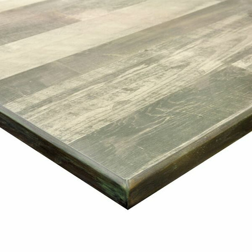 """Table Top,laminate surface, oak wood edge inlay, 1-1/8"""" core of industrial grade particle board, Rustic Laminate Noir Timber"""