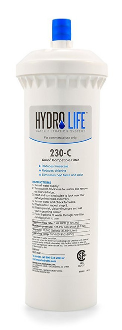 230-C Cuno Water Filter Replacement Cartridge, 10,000 gallons (37,854 liters) capacity, KDF® triple water processing, removes or reduces limescale/chlorine/lead/algae & slime/bad taste & odor/bacteria, 100° F max temperature, 20-100 PSI, 1.5 GPM, compatible with Cuno CFS-8112-S filters and similar model Cuno filters (cartridge requires existing Cuno head - compatible with Cuno models 68567 and 6213001) (priced per each, packed 6 each per case)