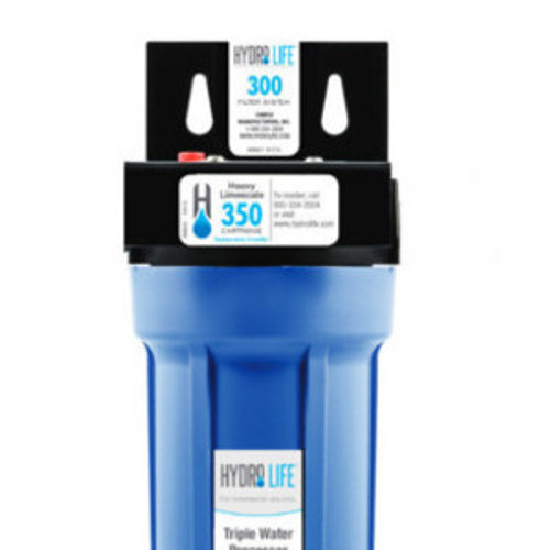 """300 Series Water Filter System, 10,000 gallons (37,854 liters) capacity, KDF® triple water processing, removes or reduces limescale/chlorine/lead/algae & slime/bad taste & odor/bacteria, 100° F max temperature, includes: model 52645 cartridge, bracket, o-ring, 20-100 PSI, 2.5 GPM, 1/2"""" female NPT (for small ice machines, small steamers, small beverage equipment), NSF"""