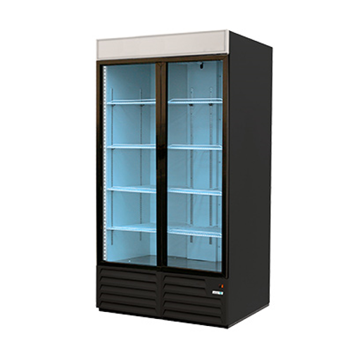 "Refrigerated Merchandiser, two-section, 49 cu. ft., 54 x 32""D x 72-5/8""H, bottom-mounted  self-contained refrigeration, (2) glass hinged doors, analog controller, (8) adjustable epoxy coated shelves, LED interior lighting, temperature range 33° to 38°F, white interior with stainless steel floor, black exterior, R134A refrigerant, 1/3 HP, cETLus, ETL-Sanitation, Made in North America. Shown in Black- Special order."