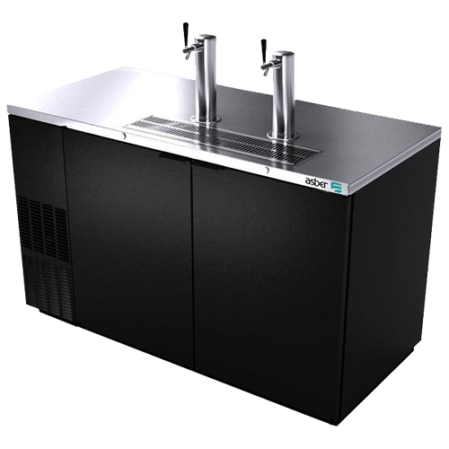 """Direct Draw Beer Cooler, two-section, side-mounted self-contained refrigeration, 59-1/2""""W, stainless steel top, includes: (2) stainless steel draft towers (1) with single tap & (1) with dual tap, (2) solid doors, (3) keg capacity, temperature range 33° to 38°F, LED interior light, black vinyl exterior, galvanized interior with stainless steel floor, 1/3 HP, cETLus, ETL-Sanitation, Made in North America"""