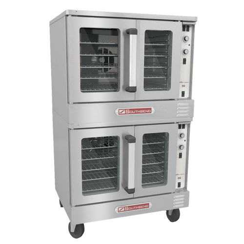 """Bronze Convection Oven, gas, double-deck, standard depth, (5) plated racks, 11-position rack glides, porcelain interior, (2) stainless steel dependent doors with windows, solid state controls, electronic ignition, 60-minute cook timer, 2-speed fan, oven interior light, stainless steel front, top, sides & door, porcelain interior, 26"""" painted steel triangular legs, (2) 7.9 amps, (2) 120v/60/1-ph, NEMA 5-15P, (2) 1/2 HP, 108,000 BTU, CSA, NSF. SHOWN WITH OPTIONS"""
