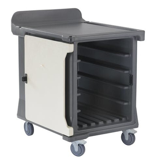 """Meal Delivery Cart, low profile, (1) door, 1-compartment, holds (10) 15"""" x 20"""" trays, 29-1/2"""" x 38-1/2""""D x 42-1/2""""H, molded-in handle on the back, with louvered vent, 6"""" heavy duty casters (2 fixed, 2 swivel with brake, offset), granite gray with cream color door, NSF"""