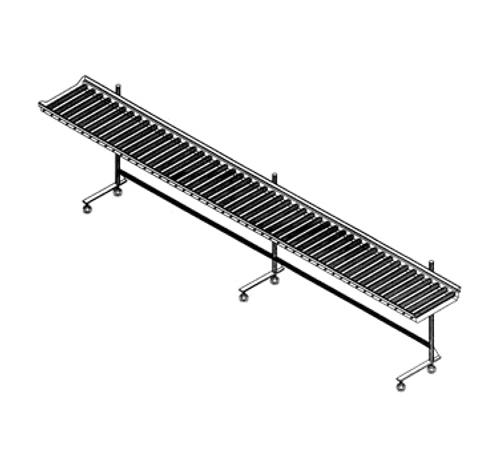 """Tray Make-Up Conveyor, cantilever-style, PVC rollers, 8' section, mobile, adjustable stainless steel tube uprights, stainless steel frame, 3"""" casters (IESRC8)"""