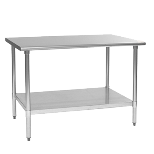 """Budget Series Work Table, 36""""W x 30""""D, 430 stainless steel top, rolled edge on front & back, adjustable galvanized undershelf, Uni-Lok® gusset system, (4) galvanized legs with adjustable plastic bullet feet, NSF"""