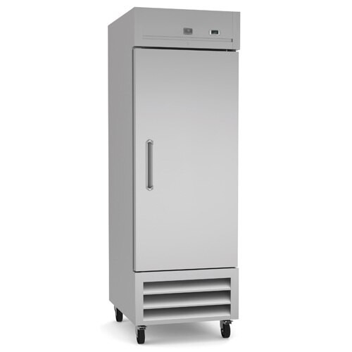 Reach-In Refrigerator, one-section, self-contained bottom mount refrigeration, 23 cubic feet capacity, stainless steel reversible door with lock, +33/+41°F temperature range, LED light, (3) vinyl coated steel shelves, 304 stainless steel interior, galvanized & stainless steel exterior, heavy duty casters, R290 Hydrocarbon refrigerant, 1/6 HP, 115v/60/1-ph, 0.3kW, 3 amps, NEMA 5-15P, cETLus, ETL-Sanitation