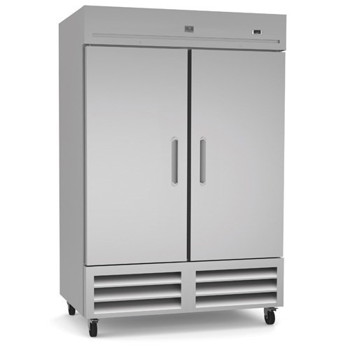 Reach-In Refrigerator, two-section, self-contained bottom mount refrigeration, 49 cubic feet capacity, (2) stainless steel reversible doors with locks, +33/+41°F temperature range, LED light, (6) vinyl coated steel shelves, 304 stainless steel interior, galvanized & stainless steel exterior, heavy duty casters, R290 Hydrocarbon refrigerant, 1/4 HP, 115v/60/1-ph, 0.5kW, 4.5 amps, NEMA 5-15P, cETLus, ETL-Sanitation