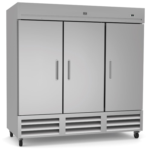 (738243) Reach-In Refrigerator, three-section, self-contained bottom mount refrigeration, 72 cubic feet capacity, (3) stainless steel reversible doors with locks, +33/+41°F temperature range, LED light, (9) vinyl coated steel shelves, 304 stainless steel interior, galvanized & stainless steel exterior, heavy duty casters, R290 Hydrocarbon refrigerant, 3/4 HP, 115v/60/1-ph, 0.8kW, 7.5 amps, NEMA 5-15P, cETLus, ETL-Sanitation