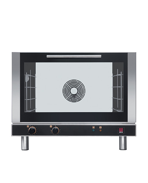 """Eka Evolution 4-tray full-size (18x26) electric convection oven with electro-mechanical controls. Top-opening (bottom-hinged) door.  Operates on 208v, single-phase or three-phase power.  Includes four 18"""" x 26"""" grids and electrical cord."""