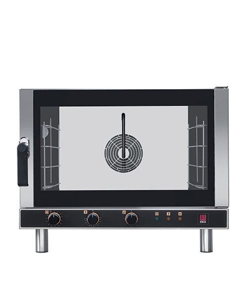 """Eka Evolution 4-tray full-size (18x26) electric convection oven with humidity with electro-mechanical controls. Left-opening (right-hinged) door. Operates on 208v, Choose single-phase or three phase. Includes four 18"""" x 26"""" grids, electrical cord, components necessary to connect to water supply, and standard drain components."""