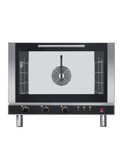"""Eka Evolution 4-tray full-size (18x26) electric convection oven with humidity with electro-mechanical controls. Top-opening (bottom-hinged) door. Operates on 208v single-phase power. Chse single or three-phase option. Includes four 18"""" x 26"""" grids, electrical cord, components necessary to connect to water supply, and standard drain components."""