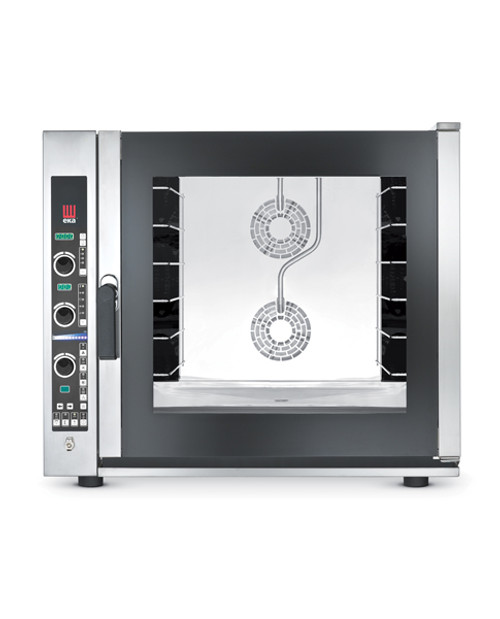 """Eka Evolution 6-tray full-size (18"""" x 26"""") electric combi-oven with electronic controls.  Holds 6 full-size pans or up to 12 half-size trays. 6 full-size grids, electrical cord, components necessary to connect to water supply, and standard drain components included."""