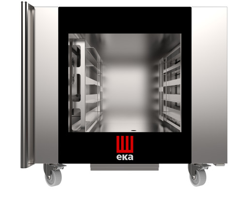"""Eka Millennial 6-tray full-size (18x26) Millennial electric combi-oven with touch screen controls. Left-opening (right-hinged) door.  Holds up to 12 hotel pans side-by-side. Includes six 18"""" x 26"""" stainless-steel grids, multi-point core probe, electrical cord, components necessary to connect to water supply, and standard drain components."""