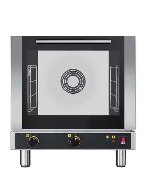 """Eka 4-tray, half-size (13x18) convection oven with electro-mechanical control.  Stainless steel construction.  Top-opening (bottom-hinged).  Auto-reversing, bi-directional fan.  Operates on 120v.  Four 13"""" x 18"""" grids included."""