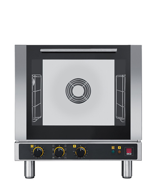 """Eka 4-tray, half-size (13x18) convection oven with broiler element.  Seven cooking modes with electro-mechanical control.  Stainless steel construction.  Auto-reversing, bi-directional fan.  Four 13"""" x 18"""" grids included."""