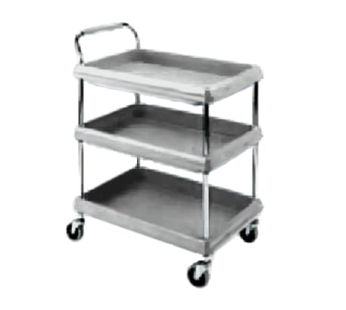 """Deep Ledge Utility Cart, 3-tier with open base, 38-3/4""""W x 27""""D x 41""""H, adjustable polymer shelves with 2-3/4""""H ledges on all sides, 150lbs per shelf capacity (400lbs total capacity), handle on short side, with (4) swivel/resilient tread casters, gray, no-tool assembly, NSF"""